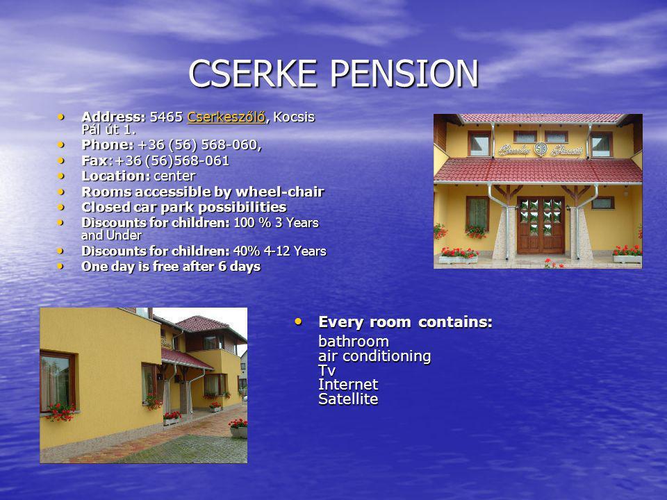 CSERKE PENSION Address: 5465 Cserkeszőlő, Kocsis Pál út 1.
