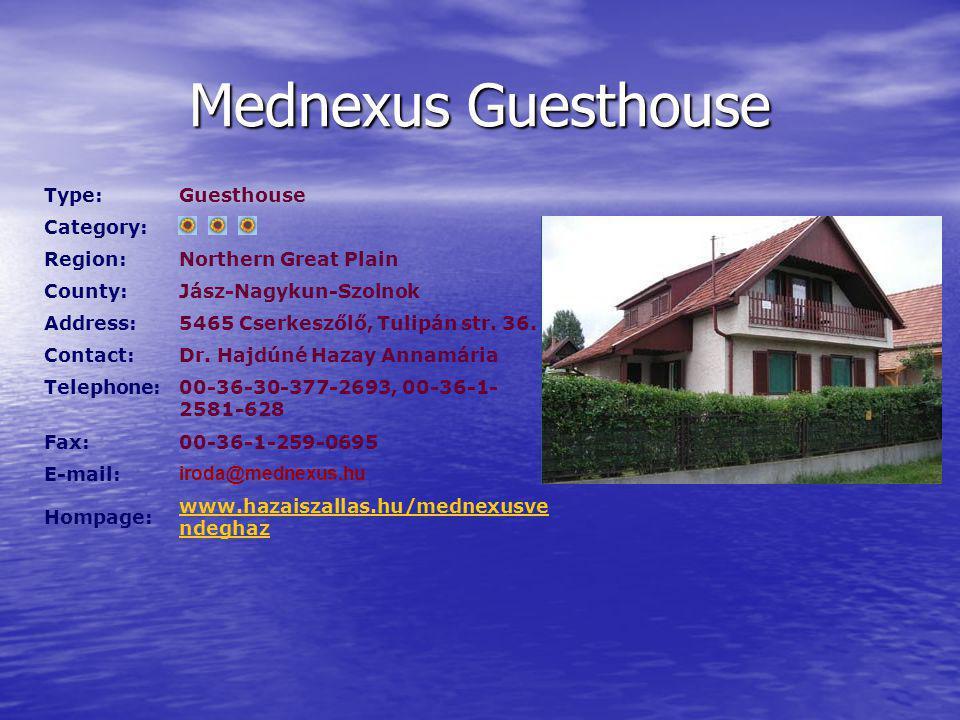 Mednexus Guesthouse Type:Guesthouse Category: Region:Northern Great Plain County:Jász-Nagykun-Szolnok Address:5465 Cserkeszőlő, Tulipán str.