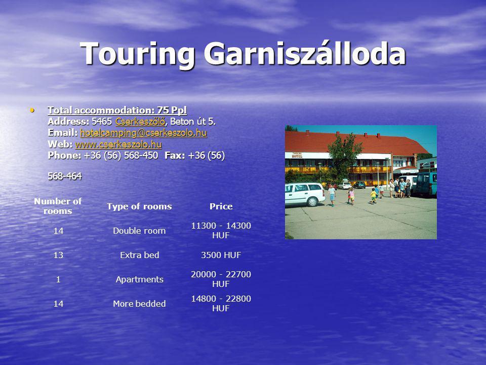 Touring Garniszálloda Total accommodation: 75 Ppl Address: 5465 Cserkeszőlő, Beton út 5.