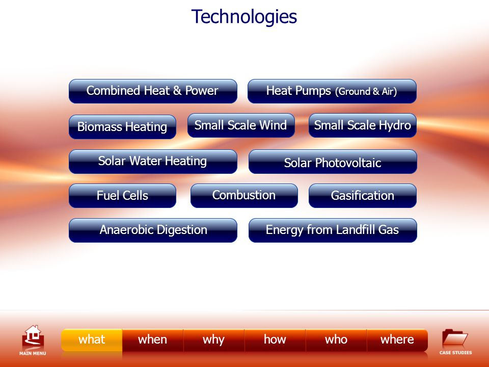 whenwhyhowwhowherewhat Biomass Heating Fuel Cells Small Scale Hydro Small Scale Wind Gasification Combustion Heat Pumps (Ground & Air) Combined Heat & Power Technologies Solar Water Heating Energy from Landfill GasAnaerobic Digestion Solar Photovoltaic