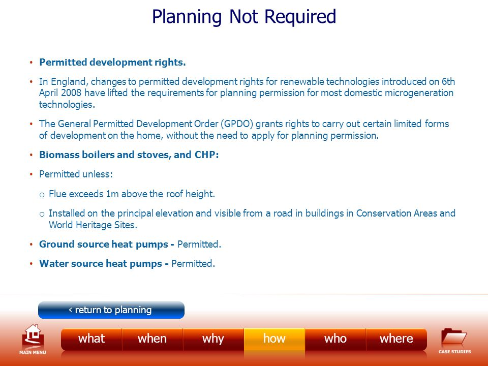 Planning Not Required Permitted development rights.