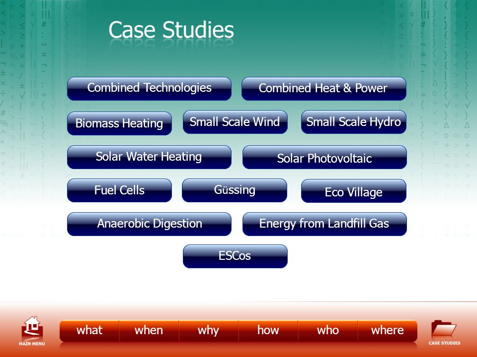 Case Studies whatwhenwhyhowwhowhere Biomass Heating Fuel Cells Small Scale Hydro Small Scale Wind Combined Heat & Power Solar Water Heating Energy from Landfill GasAnaerobic Digestion Solar Photovoltaic Combined Technologies ESCos G ü ssing Eco Village