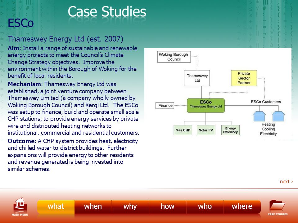 ESCo Case Study 2 Aim: Improve the local authoritys housing stock and reduce fuel costs for tenants.