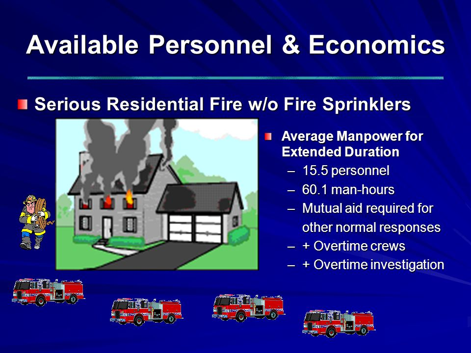 Available Personnel & Economics Serious Residential Fire w/o Fire Sprinklers Average Manpower for Extended Duration –15.5 personnel –60.1 man-hours –Mutual aid required for other normal responses –+ Overtime crews –+ Overtime investigation