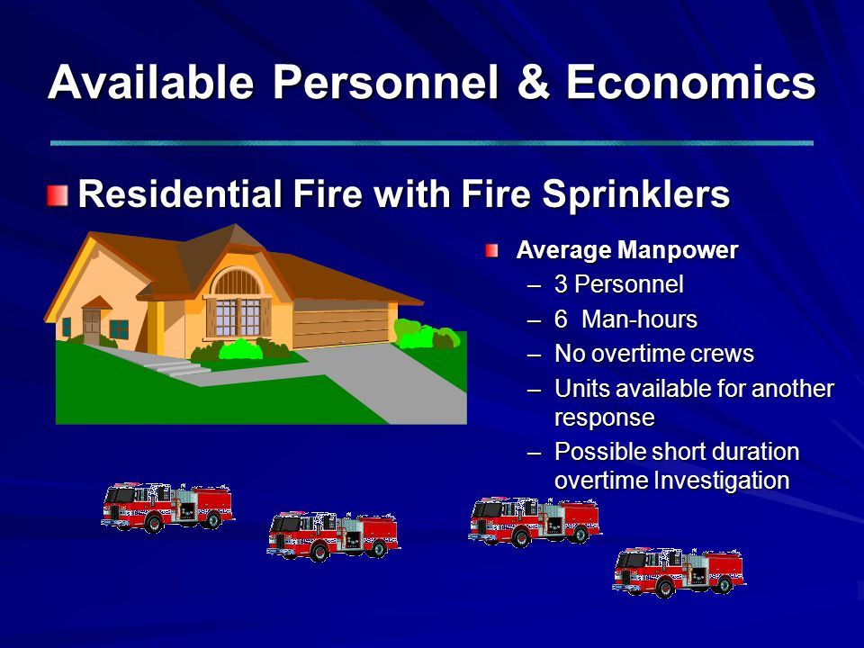 Available Personnel & Economics Residential Fire with Fire Sprinklers Average Manpower –3 Personnel –6 Man-hours –No overtime crews –Units available for another response –Possible short duration overtime Investigation