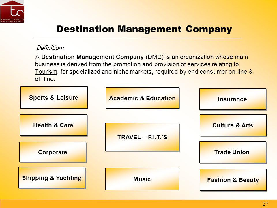 26 TC - CONSULT Corporate Partners The partnerships TC - CONSULT can count on signed agreements with more than 200 world-wide Tour Operators which wil