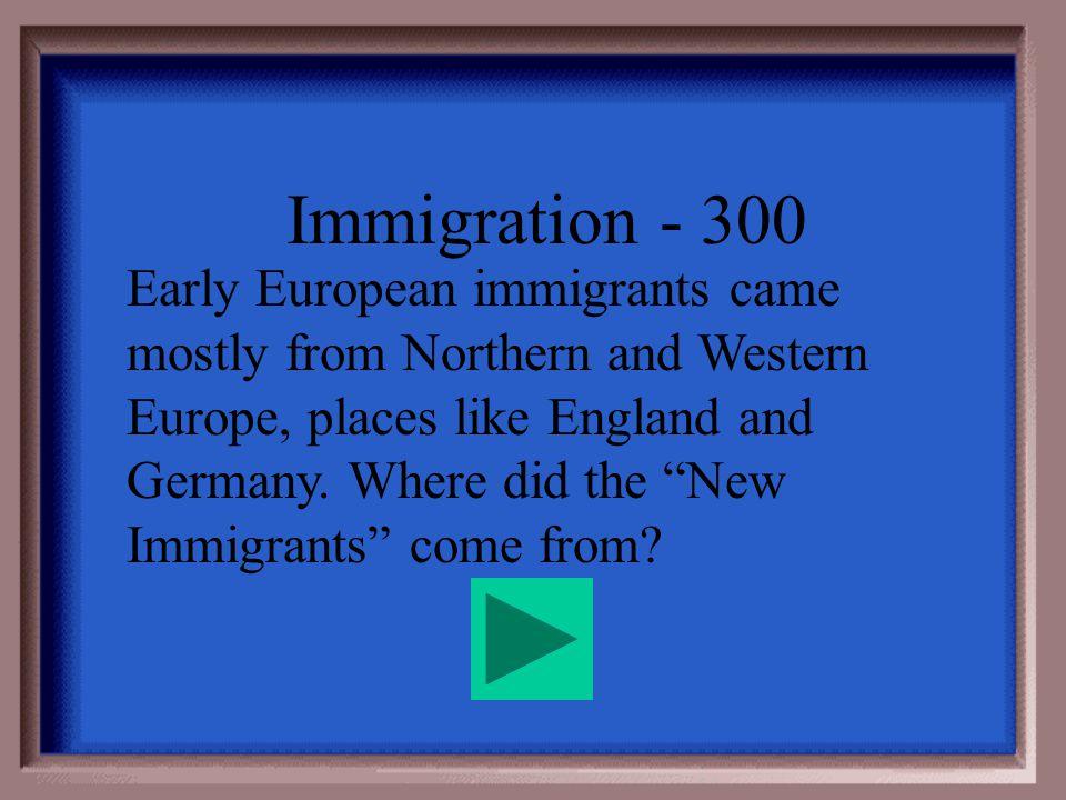 Immigration - 200 Tenements