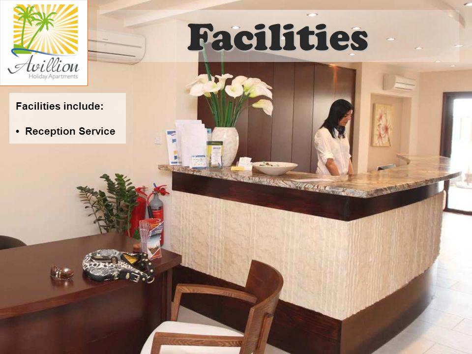 Facilities include: Reception Service Facilities