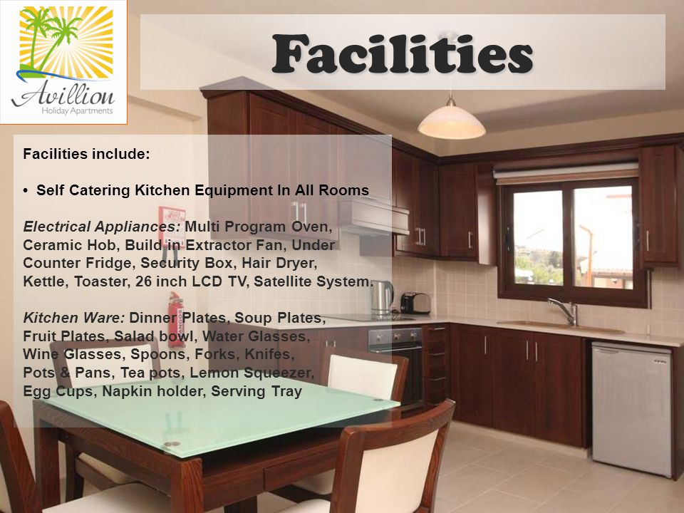 Facilities include: Self Catering Kitchen Equipment In All Rooms Electrical Appliances: Multi Program Oven, Ceramic Hob, Build in Extractor Fan, Under