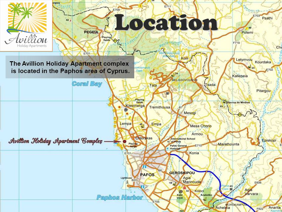 The Avillion Holiday Apartment complex is located in the Paphos area of Cyprus. Location