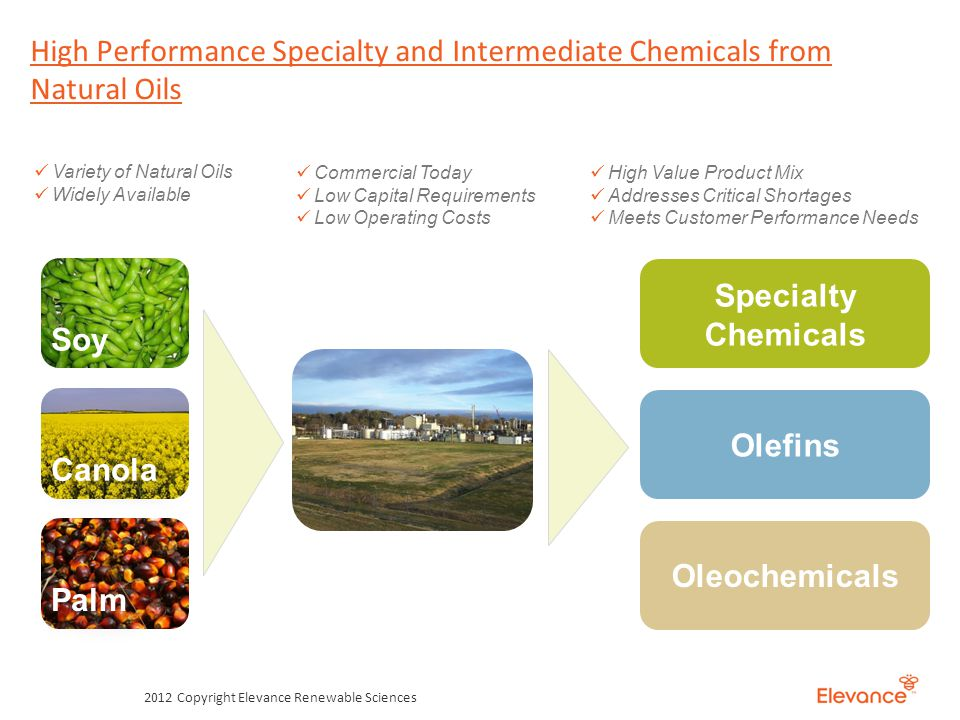 High Performance Specialty and Intermediate Chemicals from Natural Oils 2012 Copyright Elevance Renewable Sciences Soy Canola Palm Variety of Natural Oils Widely Available Specialty Chemicals Oleochemicals Olefins Commercial Today Low Capital Requirements Low Operating Costs High Value Product Mix Addresses Critical Shortages Meets Customer Performance Needs