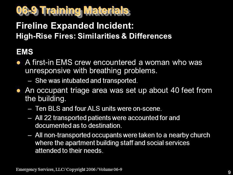 Emergency Services, LLC/ Copyright 2006 / Volume 06-9 9 EMS A first-in EMS crew encountered a woman who was unresponsive with breathing problems. –She