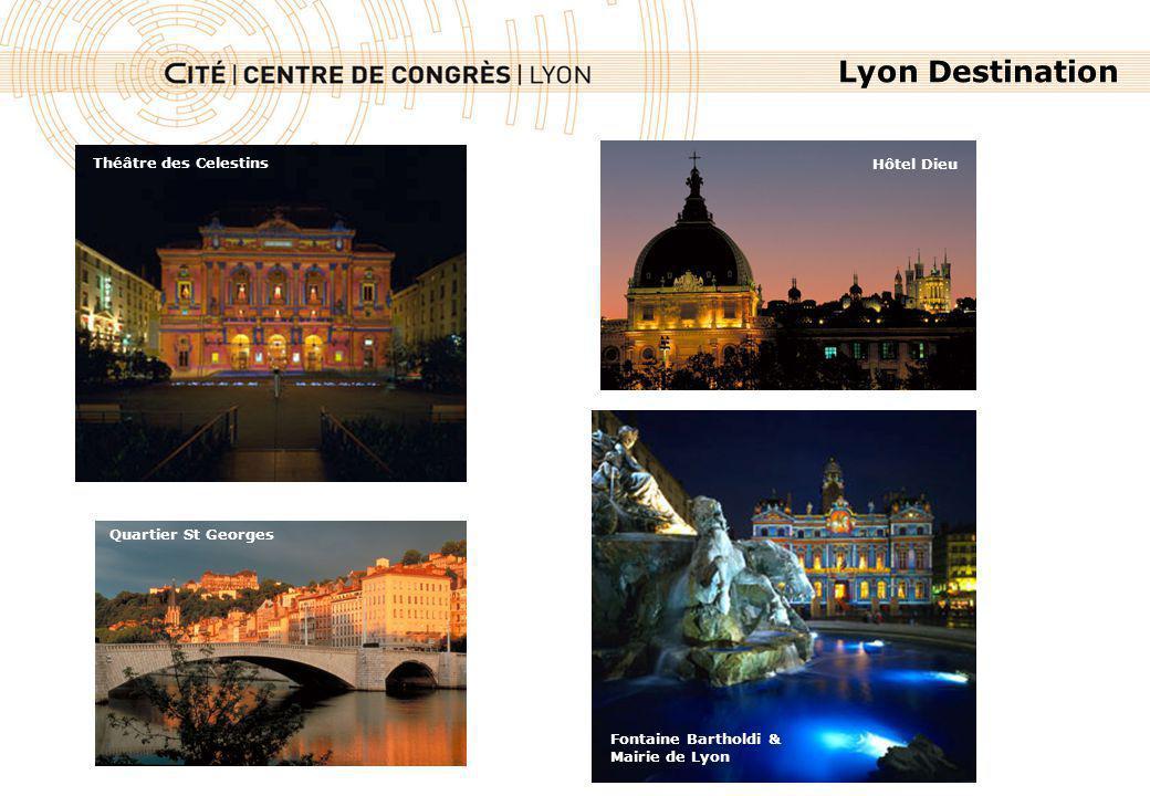 Lyon Destination Fontaine Bartholdi & Mairie de Lyon Vue de la Basilique Notre Dame de Fourvière Théâtre des Celestins Quartier St Georges Hôtel Dieu