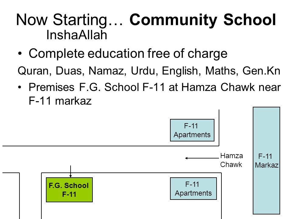Now Starting… Community School Complete education free of charge Quran, Duas, Namaz, Urdu, English, Maths, Gen.Kn Premises F.G.