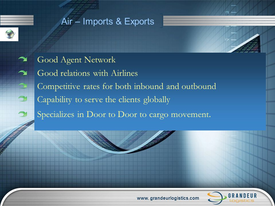 www. grandeurlogistics.com Air – Imports & Exports Good Agent Network Good relations with Airlines Competitive rates for both inbound and outbound Cap