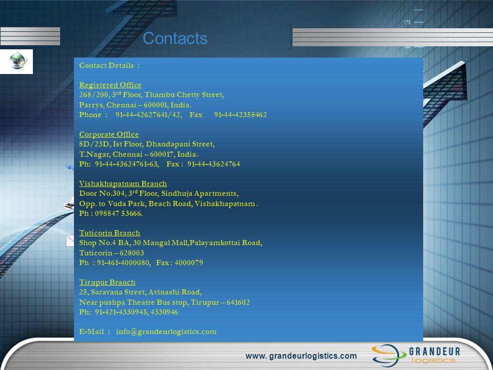 www. grandeurlogistics.com Contacts Contact Details : Registered Office 268/200, 3 rd Floor, Thambu Chetty Street, Parrys, Chennai – 600001, India. Ph