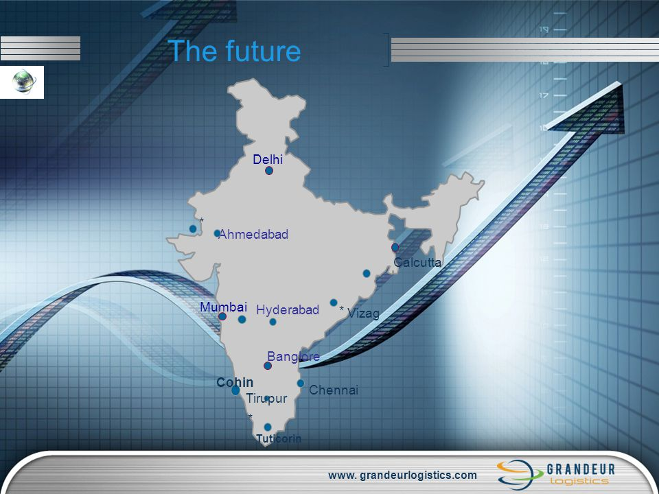 www. grandeurlogistics.com The future Delhi Mumbai Calcutta Ahmedabad Banglore Hyderabad * Cohin * Tirupur Chennai * Tuticorin Vizag