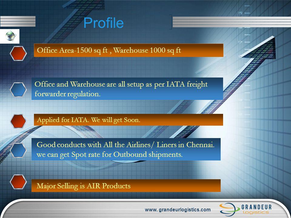 www. grandeurlogistics.com Profile Office Area-1500 sq ft, Warehouse 1000 sq ft Office and Warehouse are all setup as per IATA freight forwarder regul