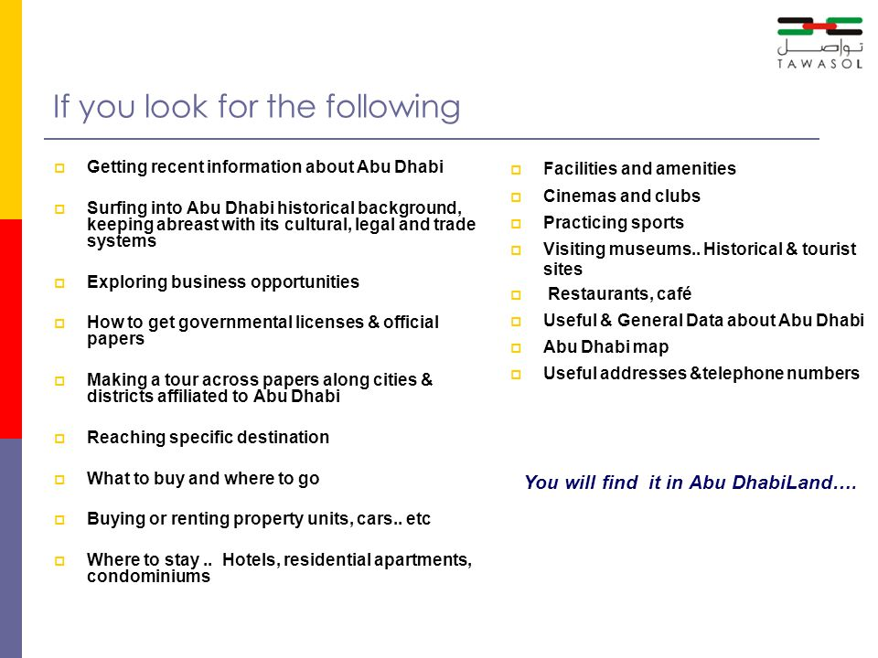 What kind of information & services you can get in Abu DhabiLand...
