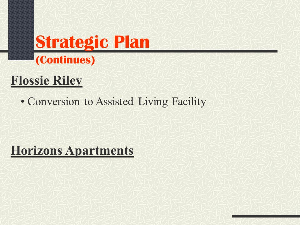 Strategic Plan (Continues) Flossie Riley Conversion to Assisted Living Facility Horizons Apartments