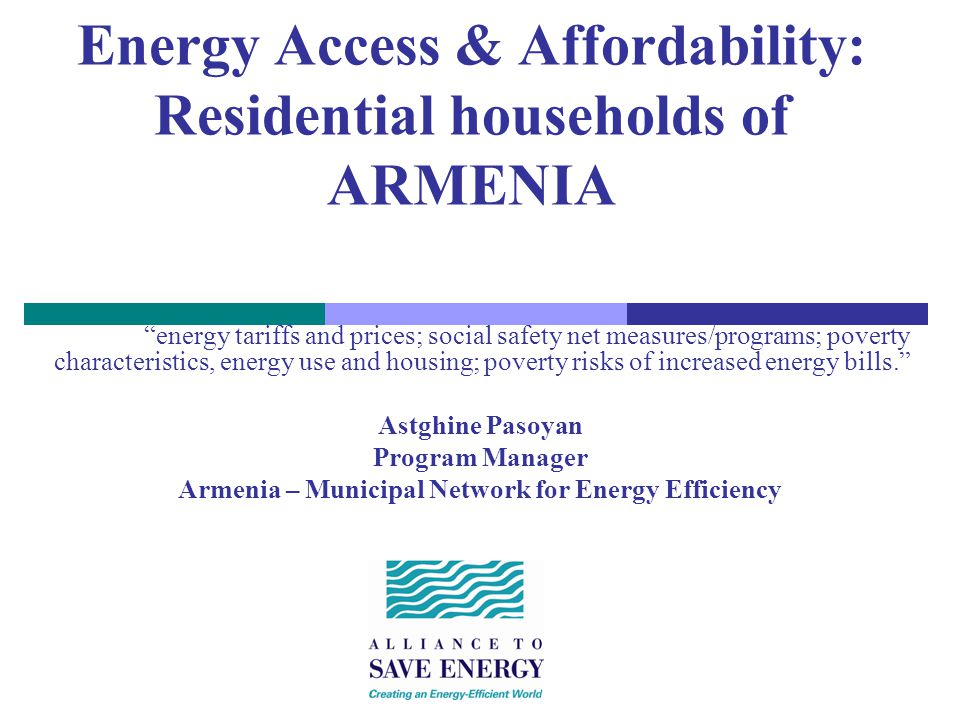Summary Slide Housing: policy, status, social issues, cross cutting Heat and Electricity: Costs and Tariffs ASE Work in this Sector: Energy Efficiency Primary Barriers: Residential Energy Efficiency Addressing Barriers: - Technical-Economic, Institutional, Information, Financing Considerations & - Policy and Legal Reform Ongoing Research: Energy Efficiency & Urban Utility Affordability Study