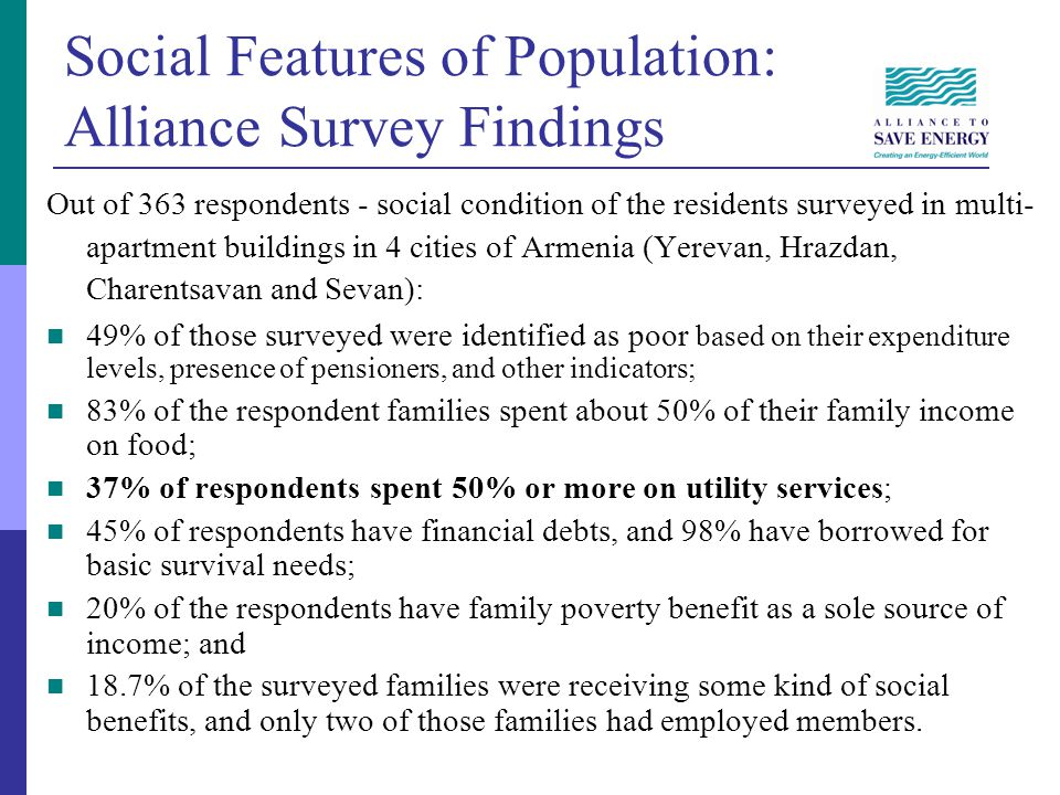 Social Features of Population: Alliance Survey Findings Out of 363 respondents - social condition of the residents surveyed in multi- apartment buildings in 4 cities of Armenia (Yerevan, Hrazdan, Charentsavan and Sevan): 49% of those surveyed were identified as poor based on their expenditure levels, presence of pensioners, and other indicators; 83% of the respondent families spent about 50% of their family income on food; 37% of respondents spent 50% or more on utility services; 45% of respondents have financial debts, and 98% have borrowed for basic survival needs; 20% of the respondents have family poverty benefit as a sole source of income; and 18.7% of the surveyed families were receiving some kind of social benefits, and only two of those families had employed members.