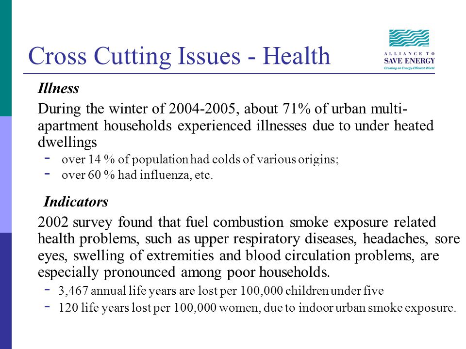Cross Cutting Issues - Health Illness During the winter of 2004-2005, about 71% of urban multi- apartment households experienced illnesses due to unde