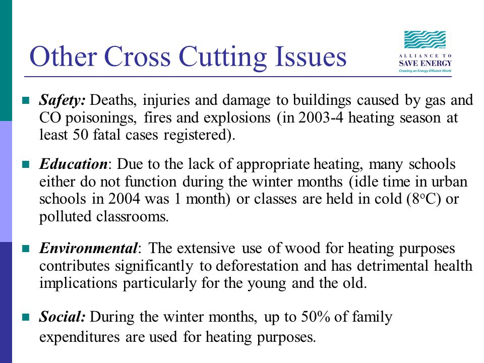 Other Cross Cutting Issues Safety: Deaths, injuries and damage to buildings caused by gas and CO poisonings, fires and explosions (in 2003-4 heating season at least 50 fatal cases registered).