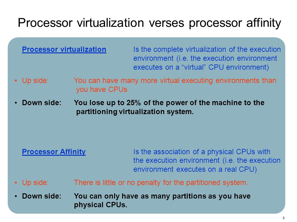 5 Processor virtualizationIs the complete virtualization of the execution environment (i.e. the execution environment executes on a virtual CPU enviro