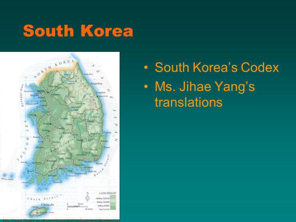 South Korea South Koreas Codex Ms.
