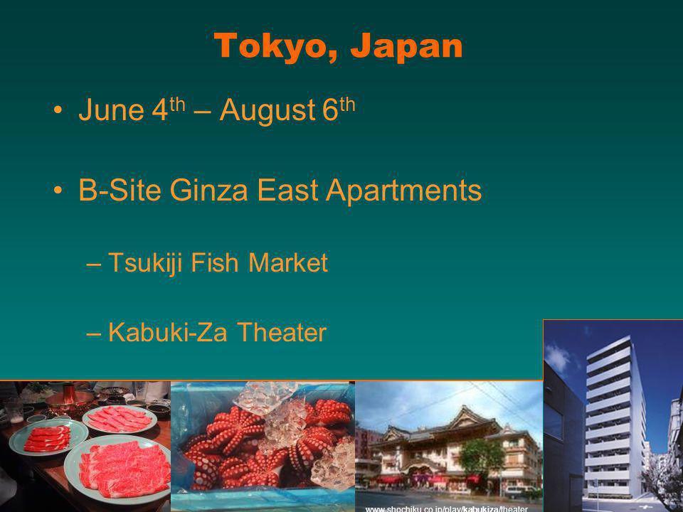 Tokyo, Japan June 4 th – August 6 th B-Site Ginza East Apartments –Tsukiji Fish Market –Kabuki-Za Theater www.shochiku.co.jp/play/kabukiza/theater