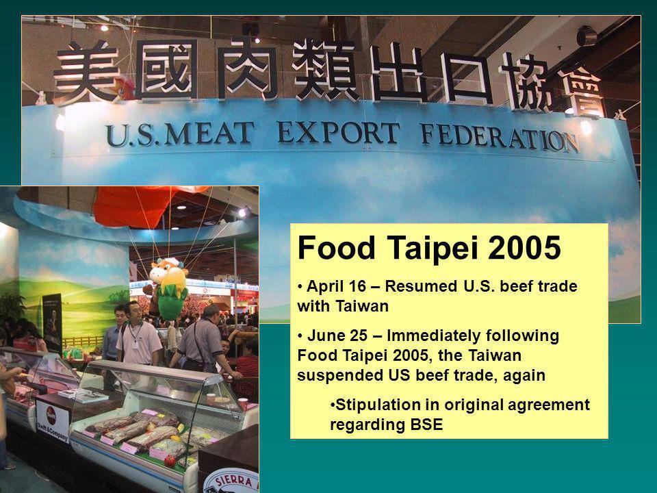 Food Taipei 2005 April 16 – Resumed U.S.