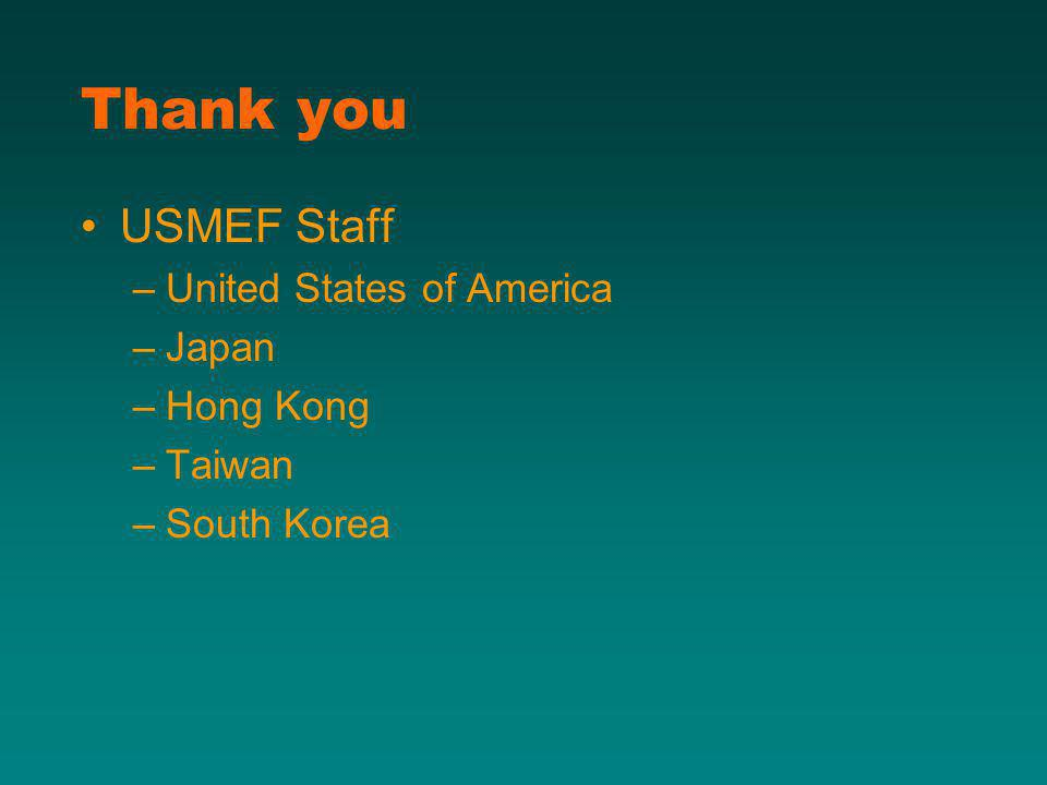 Thank you USMEF Staff –United States of America –Japan –Hong Kong –Taiwan –South Korea