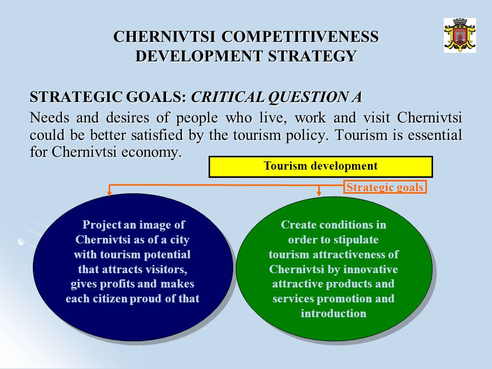 STRATEGIC GOALS: CRITICAL QUESTION А Needs and desires of people who live, work and visit Chernivtsi could be better satisfied by the tourism policy.