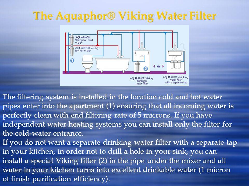 The Aquaphor® Viking Water Filter The filtering system is installed in the location cold and hot water pipes enter into the apartment (1) ensuring tha