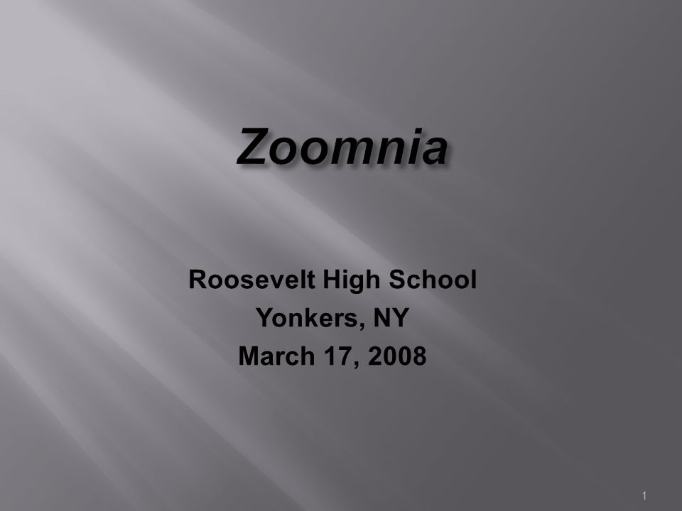 1 Zoomnia Roosevelt High School Yonkers, NY March 17, 2008