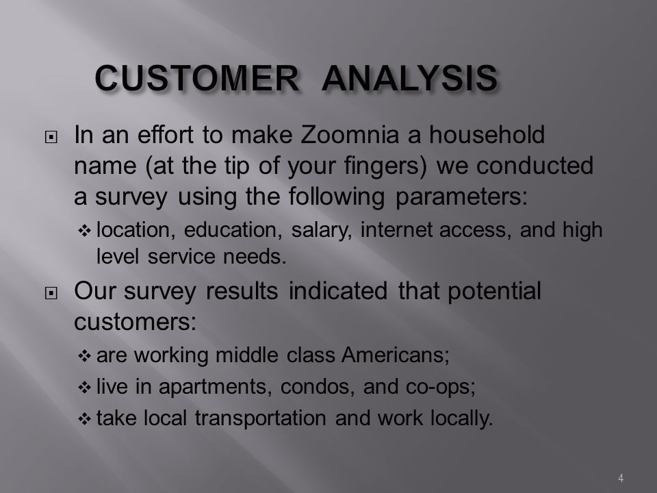 4 CUSTOMER ANALYSIS In an effort to make Zoomnia a household name (at the tip of your fingers) we conducted a survey using the following parameters: location, education, salary, internet access, and high level service needs.