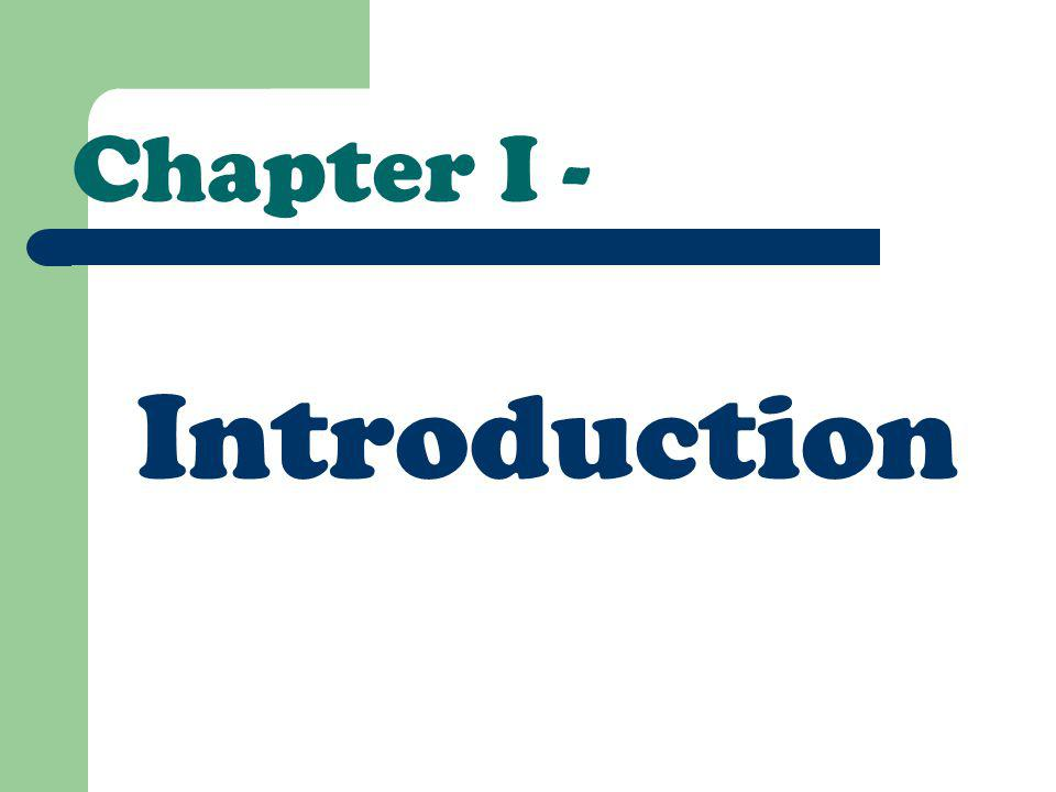 Chapter I - Introduction