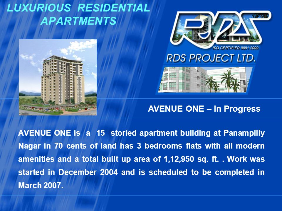 LUXURIOUS RESIDENTIAL APARTMENTS AVENUE ONE is a 15 storied apartment building at Panampilly Nagar in 70 cents of land has 3 bedrooms flats with all m