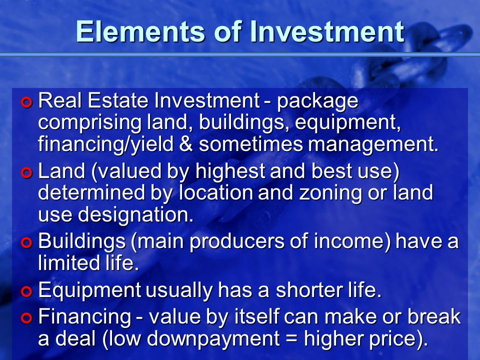 © 2002 By Default! A Free sample background from www.powerpointbackgrounds.com Slide 17 Elements of Investment Real Estate Investment - package compri