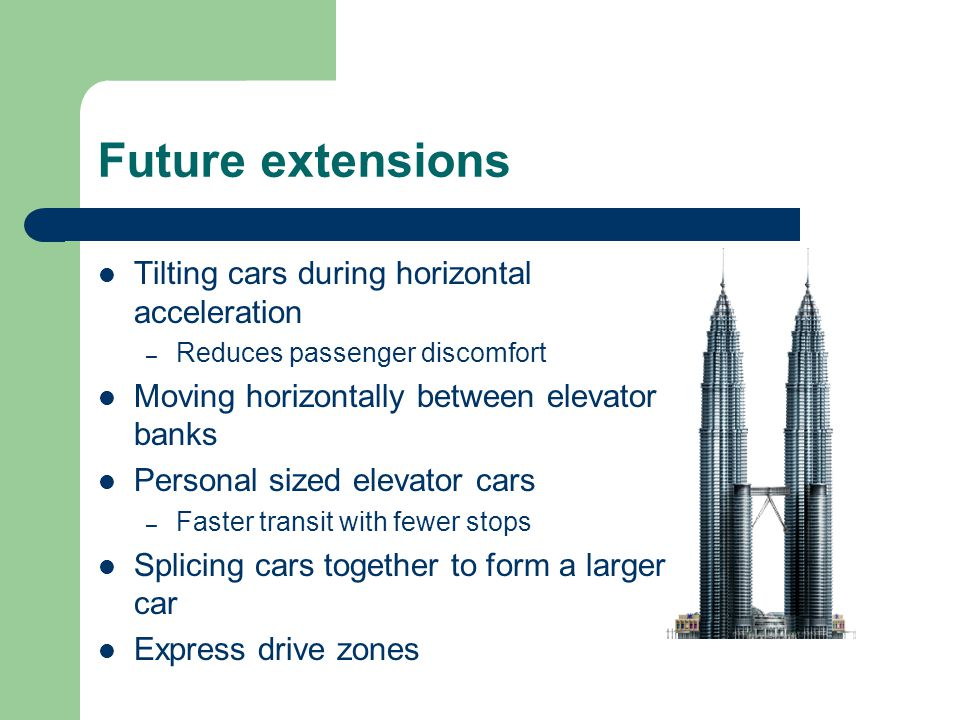 Future extensions Tilting cars during horizontal acceleration – Reduces passenger discomfort Moving horizontally between elevator banks Personal sized