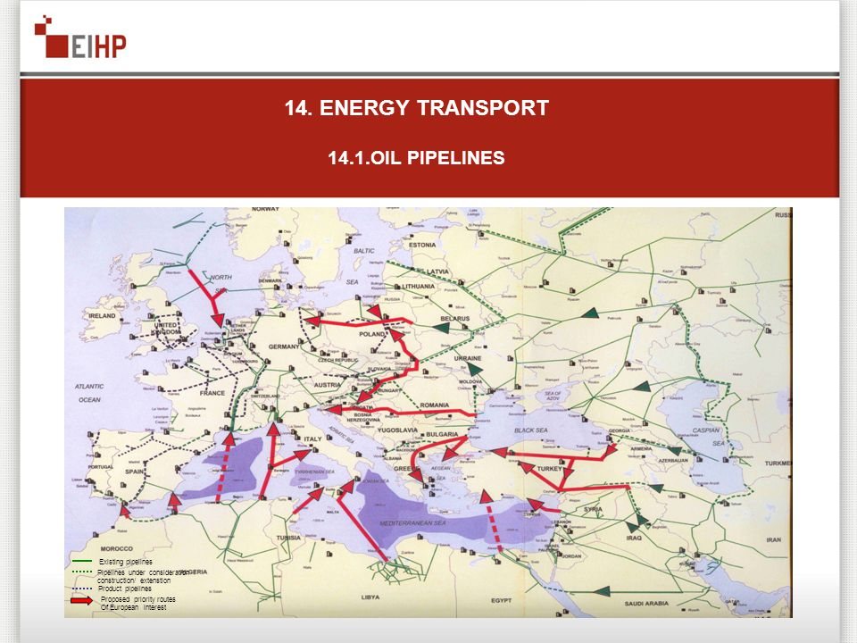 14. ENERGY TRANSPORT 14.1.OIL PIPELINES Existing pipelines Pipelines under consideration / construction/ extenstion Product pipelines Proposed priorit