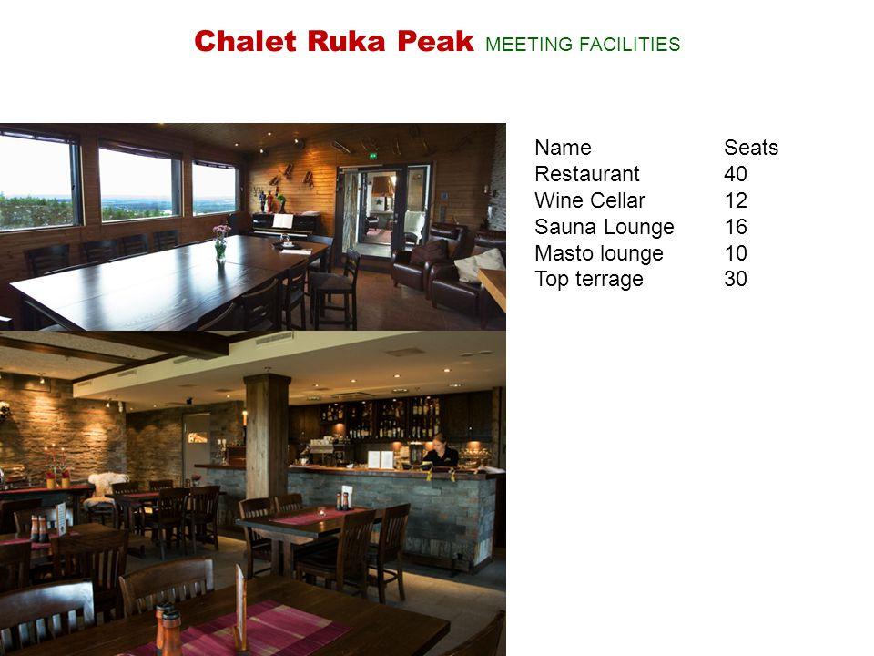 NameSeats Restaurant40 Wine Cellar 12 Sauna Lounge16 Masto lounge10 Top terrage30 Chalet Ruka Peak MEETING FACILITIES
