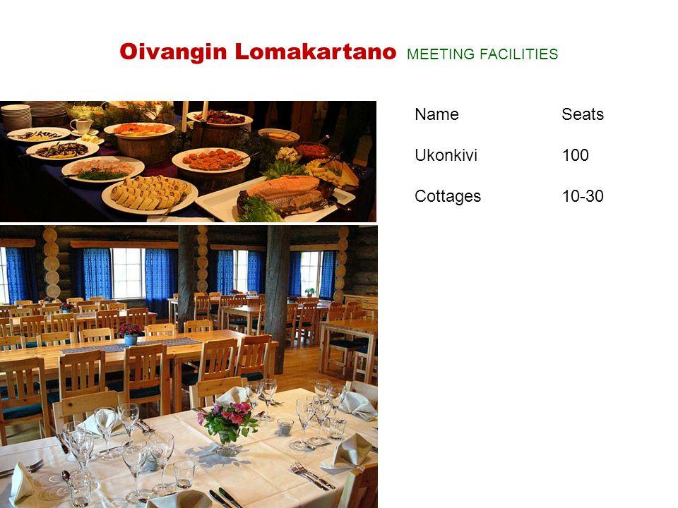 NameSeats Ukonkivi100 Cottages10-30 Oivangin Lomakartano MEETING FACILITIES