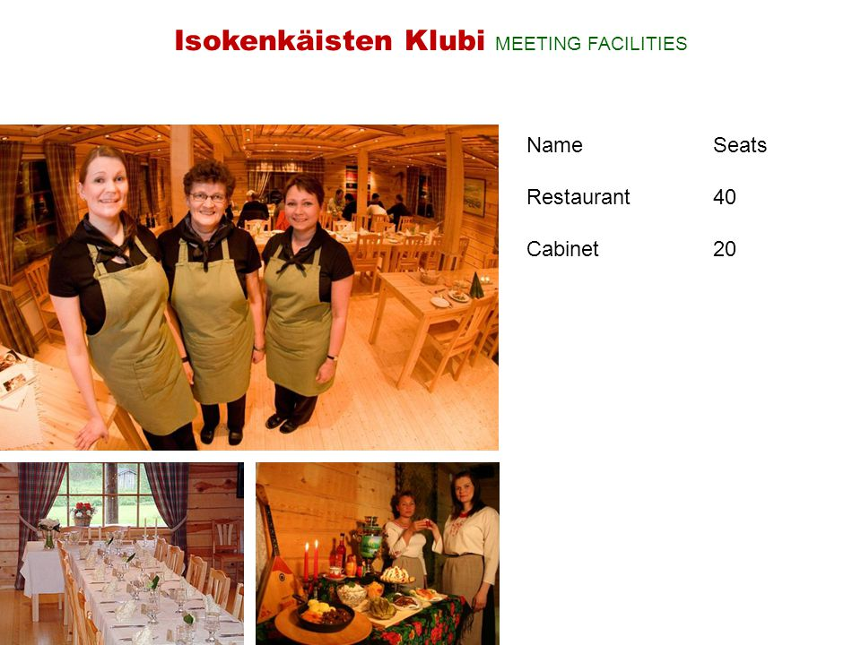 NameSeats Restaurant40 Cabinet20 Isokenkäisten Klubi MEETING FACILITIES