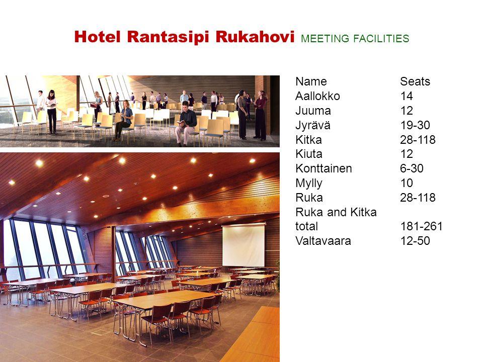 NameSeats Aallokko14 Juuma12 Jyrävä19-30 Kitka28-118 Kiuta 12 Konttainen6-30 Mylly10 Ruka28-118 Ruka and Kitka total181-261 Valtavaara12-50 Hotel Rant