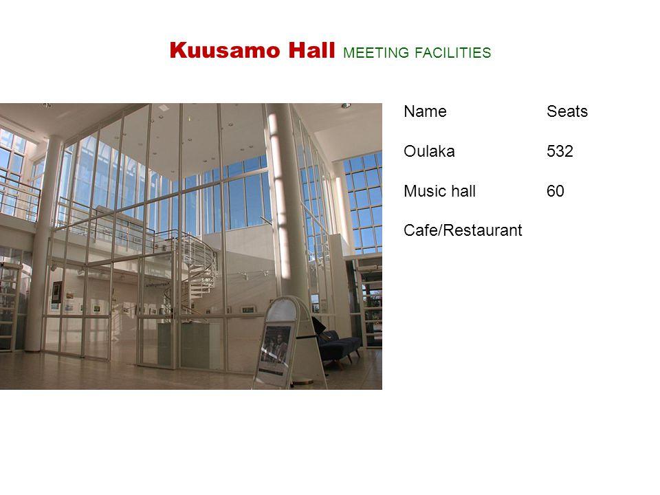 NameSeats Oulaka 532 Music hall 60 Cafe/Restaurant Kuusamo Hall MEETING FACILITIES