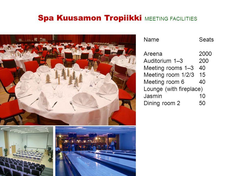 NameSeats Areena2000 Auditorium 1–3200 Meeting rooms 1–340 Meeting room 1/2/315 Meeting room 640 Lounge (with fireplace) Jasmin10 Dining room 250 Spa