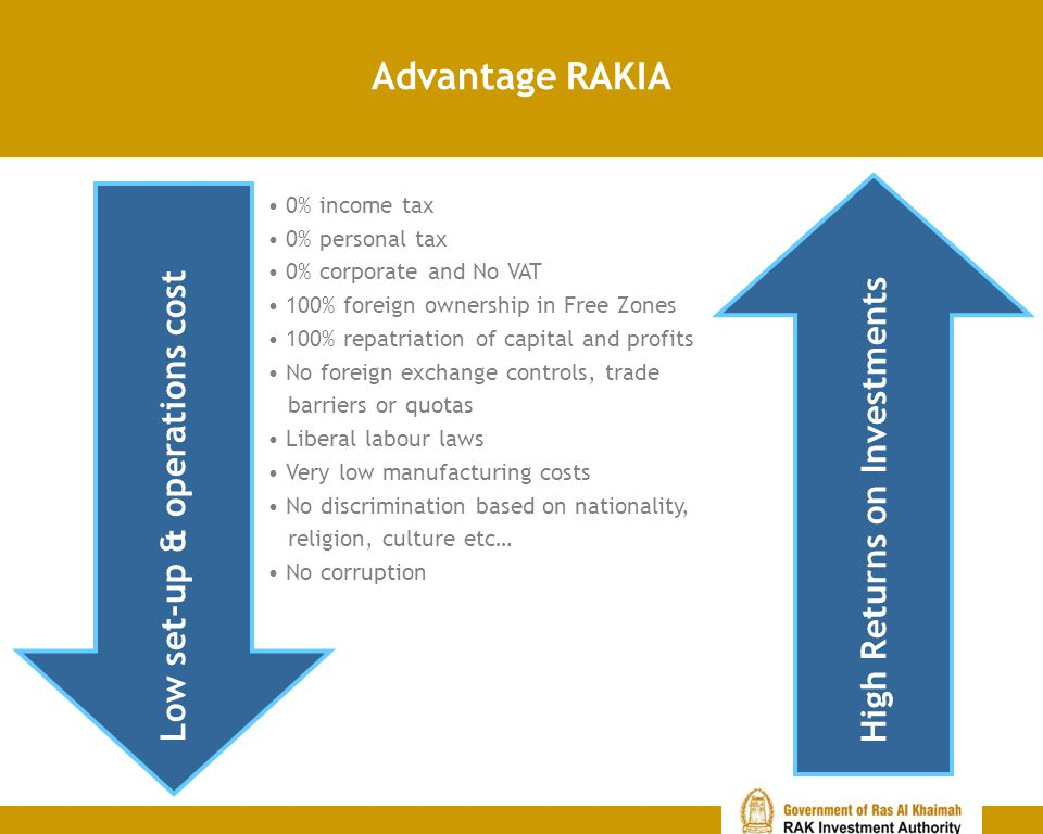 Advantage RAKIA High Returns on Investments 0% income tax 0% personal tax 0% corporate and No VAT 100% foreign ownership in Free Zones 100% repatriati