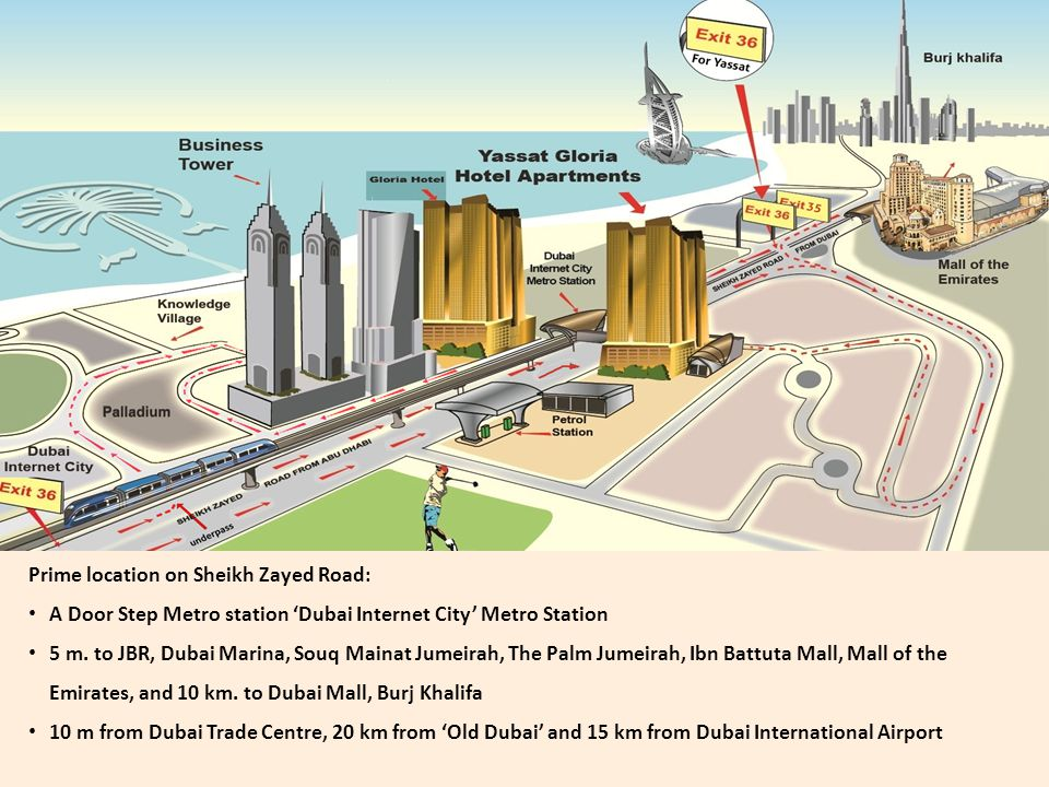 Prime location on Sheikh Zayed Road: A Door Step Metro station Dubai Internet City Metro Station 5 m.